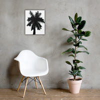Palm Tree Silhouette on Pure White Botanical Nature Canvas Wall Art Print 16×20 - PIPAFINEART