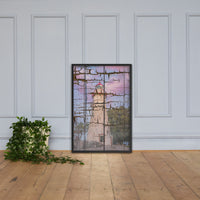 Faux Wood Texture Marblehead Lighthouse at Sunset Framed Photo Paper Wall Art Prints Black / 24×36 - PIPAFINEART