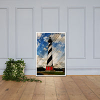 Cape Hatteras Lighthouse Landscape Photo Faux Wood Framed Photo Paper Wall Art Prints - Coastal / Beach / Shore / Seascape Landscape Scene White / 24×36