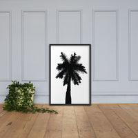 Palm Tree Silhouette on Pure White Botanical Nature Photo Framed Wall Art Print Black / 24×36 - PIPAFINEART