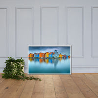 Blue Morning at Waters Edge Landscape Framed Photo Paper Coastal Wall Art Prints White / 24×36