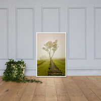 Calming Morning Rural Landscape Framed Photo Paper Wall Art PrintsRural / Farmhouse / Country Style Landscape Scene White / 24×36