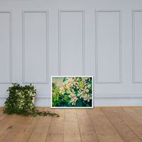 Indian Hawthorn Shrub in Bloom Colorized Floral Nature Photo Framed Wall Art Print White / 18×24 - PIPAFINEART