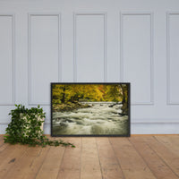 Waterfalls in the Autumn Foliage Landscape Framed Photo Paper Wall Art Prints Black / 24×36 - PIPAFINEART