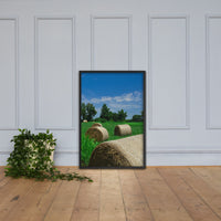 Hay Whatcha Doin in the Field Landscape Framed Photo Paper Wall Art Prints Rural / Farmhouse / Country Style Landscape Scene Black / 24×36