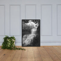 Chittenango Waterfall in Black and White Framed Photo Paper Wall Art Prints Rural / Farmhouse / Country Style Landscape Scene Black / 24×36