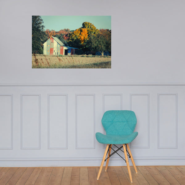 Patriotic Barn in Field Cross Processed Landscape Photo Loose Wall Art Prints 24×36 - PIPAFINEART