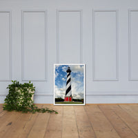 Cape Hatteras Lighthouse Coastal Landscape Framed Photo Paper Wall Art Prints - Coastal / Beach / Shore / Seascape Landscape Scene White / 18×24