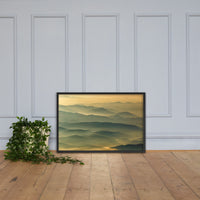 Foggy Mountain Layers at Sunset Landscape Framed Photo Paper Wall Art Prints Rural / Farmhouse / Country Style Landscape Scene Black / 24×36
