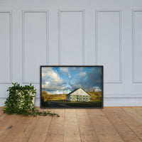 Aging Barn in the Morning Sun Farmhouse Style / Rural Landscape Scene Framed Photo Paper Wall Art Prints Black / 24×36