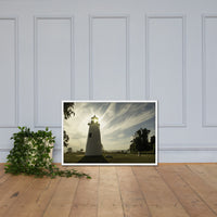 Turkey Point Lighthouse with Sun Flare Horizontal Framed Photo Paper Wall Art Prints White / 24×36 - PIPAFINEART