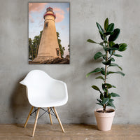 Marblehead Lighthouse at Sunset From the Shore Canvas Wall Art Prints 24×36 - PIPAFINEART