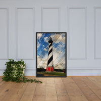 Cape Hatteras Lighthouse Landscape Photo Faux Wood Framed Photo Paper Wall Art Prints - Coastal / Beach / Shore / Seascape Landscape Scene Black / 24×36