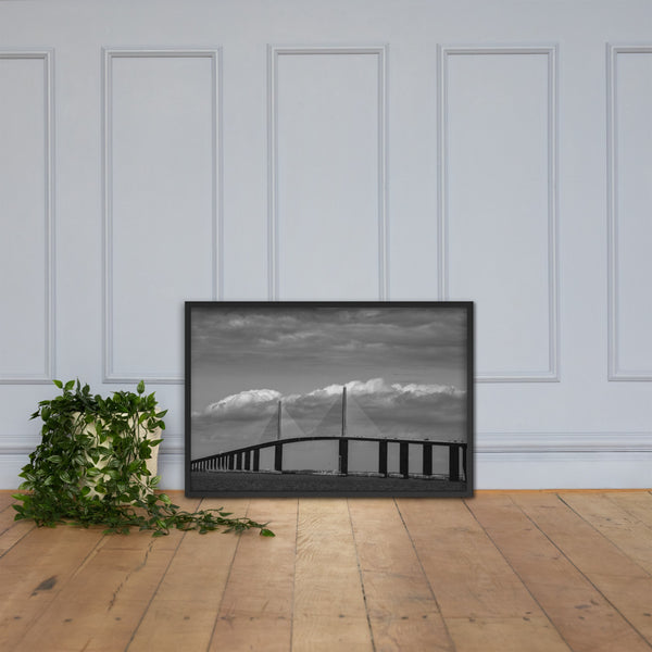 Skyway Bridge Black and White Coastal Landscape Framed Photo Paper Wall Art Prints Black / 24×36 - PIPAFINEART