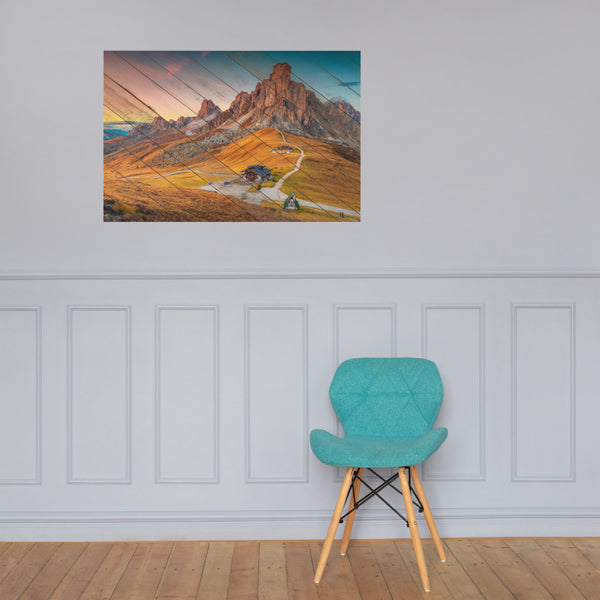 Faux Wood Majestic Sunset and Alpine Mountain Pass Landscape Photo Loose Wall Art Prints 24×36 - PIPAFINEART