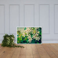 Indian Hawthorn Shrub in Bloom Colorized Floral Nature Photo Framed Wall Art Print White / 24×36 - PIPAFINEART