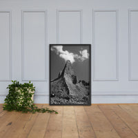 Chimney Bluff Black and White Landscape Framed Photo Paper Wall Art Prints Rural / Farmhouse / Country Style Landscape Scene Black / 24×36