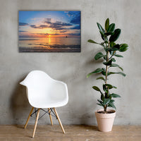 Sunset at Breakwater Lighthouse Coastal Landscape Canvas Wall Art Prints 24×36 - PIPAFINEART