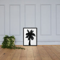 Palm Tree Silhouette on Pure White Botanical Nature Photo Framed Wall Art Print Black / 18×24 - PIPAFINEART