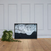 White Waters and Black Sand Coastal Landscape Framed Photo Paper Wall Art Prints Black / 24×36 - PIPAFINEART