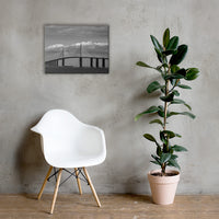 Skyway Bridge Black and White Coastal Landscape Canvas Wall Art Prints 18×24 - PIPAFINEART