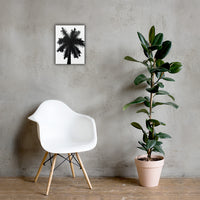 Palm Tree Silhouette on Pure White Botanical Nature Canvas Wall Art Print 12×16 - PIPAFINEART