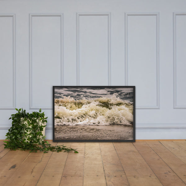 Crashing Ashore Coastal Nature Photo Framed Wall Art Print Black / 24×36 - PIPAFINEART