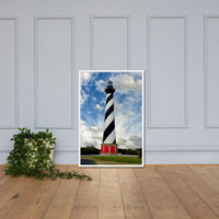 Cape Hatteras Lighthouse Coastal Landscape Framed Photo Paper Wall Art Prints - Coastal / Beach / Shore / Seascape Landscape Scene White / 24×36