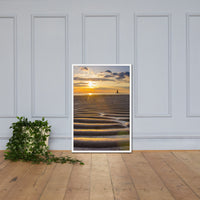 Sandbars and Sunset Coastal Landscape Framed Photo Paper Wall Art Prints White / 24×36 - PIPAFINEART