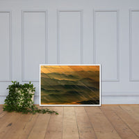 Faux Wood Foggy Mountain Layers at Sunset Landscape Framed Photo Paper Wall Art Prints White / 24×36 - PIPAFINEART