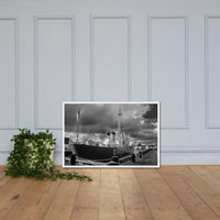 Overfalls Lightship Lewes Black and White Framed Photo Paper Wall Art Prints White / 24×36 - PIPAFINEART