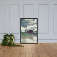 Foggy River Framed Photo Paper Wall Art Prints Coastal / Beach / Shore / Seascape Landscape Scene Black / 24×36
