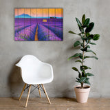 Faux Wood Lavender Fields and Sunset Canvas Wall Art Prints - Rural / Farmhouse / Country Style Landscape Scene 24×36