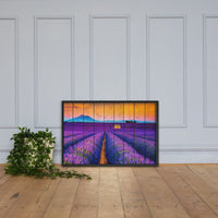 Faux Wood Lavender Fields and Sunset Landscape Framed Photo Paper Wall Art Prints Black / 24×36 - PIPAFINEART