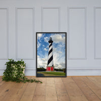 Cape Hatteras Lighthouse Coastal Landscape Framed Photo Paper Wall Art Prints - Coastal / Beach / Shore / Seascape Landscape Scene Black / 24×36