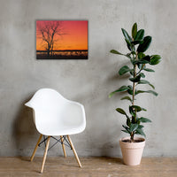 Burning Skies Rural Landscape Canvas Wall Art Prints 18×24 - PIPAFINEART