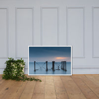 Cloudy Sunrise at Port Mahon Lighthouse Ruins Framed Photo Paper Wall Art Prints White / 24×36 - PIPAFINEART