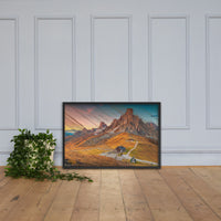 Faux Wood Majestic Sunset & Alpine Mountain Framed Photo Paper Wall Art Prints - Rural / Farmhouse / Country Style Landscape Scene Black / 24×36