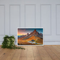 Majestic Sunset and Alpine Mountain Pass Framed Photo Paper Wall Art Prints White / 24×36 - PIPAFINEART