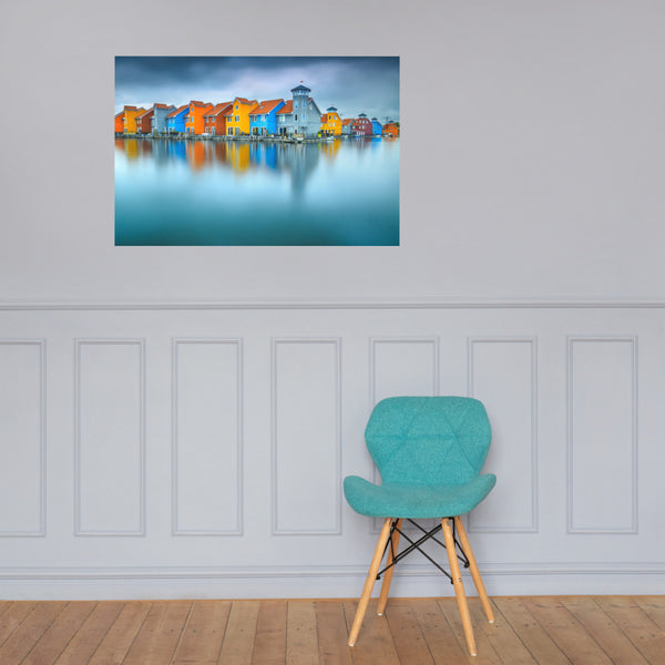 Blue Morning at Waters Edge Landscape Photo Loose Wall Art Prints 24×36 - PIPAFINEART