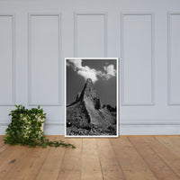 Chimney Bluff Black and White Landscape Framed Photo Paper Wall Art Prints Rural / Farmhouse / Country Style Landscape Scene White / 24×36