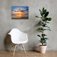 Sunset at Breakwater Lighthouse Coastal Landscape Canvas Wall Art Prints 18×24 - PIPAFINEART