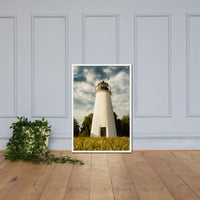 Turkey Point Lighthouse Standing Tall Landscape Framed Photo Paper Wall Art Prints White / 24×36 - PIPAFINEART