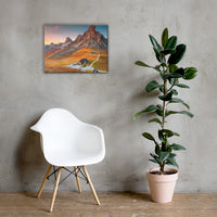 Majestic Sunset and Alpine Mountain Pass Rural Landscape Canvas Wall Art Prints 18×24 - PIPAFINEART