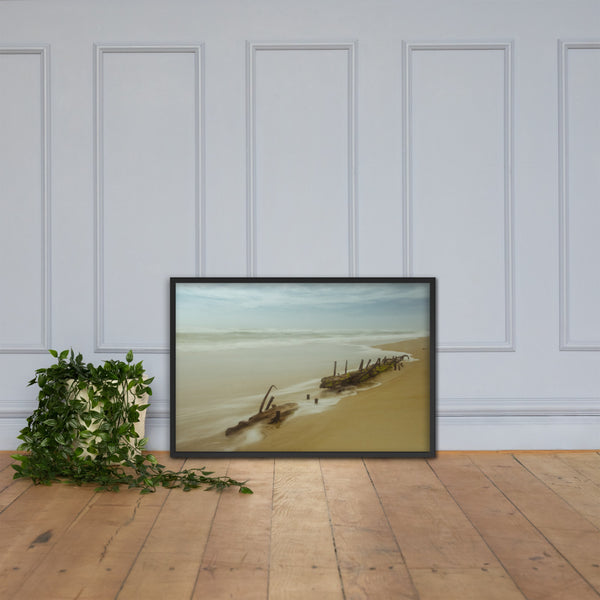 Misty Shipwreck Coastal Landscape Framed Photo Paper Wall Art Prints Black / 24×36 - PIPAFINEART