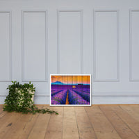 Faux Wood Lavender Fields and Sunset Landscape Framed Photo Paper Wall Art Prints White / 18×24 - PIPAFINEART