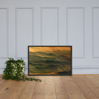 Faux Wood Foggy Mountain Layers at Sunset Landscape Framed Photo Paper Wall Art Prints Black / 24×36 - PIPAFINEART