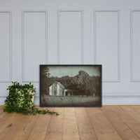 Patriotic Barn in Field Vintage Black and White Glass Plate Framed Photo Paper Wall Art Prints Black / 24×36 - PIPAFINEART