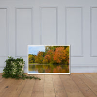 Autumn Tree Line Rural / Farmhouse / Country Style Landscape Scene Photo Framed Photo Paper Wall Art Prints White / 24×36