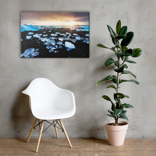 Fire and Ice Coastal Landscape Canvas Wall Art Prints 24×36 - PIPAFINEART
